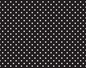 LAMINATED cotton fabric by the yard - Black white dot - Dots & Dash (aka oilcloth, coated vinyl)