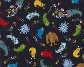 SALE Cotton fabric - Friendly Monsters on navy by the yard Michael Miller CX5185