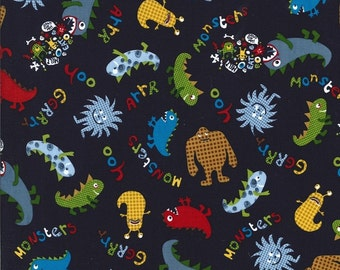 Cotton sewing quilting fabric by the yard - Friendly Monsters on navy - Michael Miller CX5185 NOT laminated- designer cotton fabric