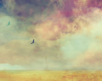 Abstract Landscape, Large Wall Art, Pastel Birds, Cloud Landscape, Stormy Desert Sky, Cotton Candy Colors, Mountain Clouds, PInk, Yellow
