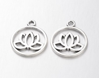 15 Lotus Charms Pendants Silver Double Sided Lead Free 20mm for your art or jewelry projects (PHC1020)- ship from Canada