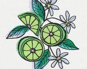 Limes Embroidered Flour Sack Hand/Dish Towel
