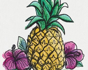 Pineapple Embroidered Flour Sack Hand Towel