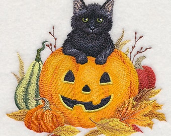Too Cute to Spook Black Kitty and Jack-o-Lantern Embroidered Flour Sack Hand/Dish Towel