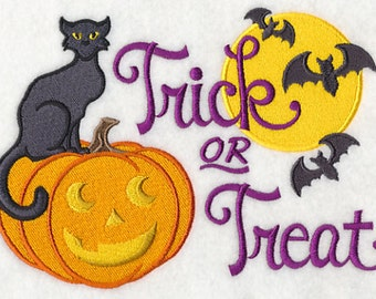 Black Cat and Pumpkin Trick or Treat Embroidered Flour Sack Hand/Dish Towel