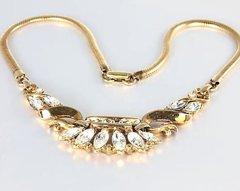 Rhinestone Trifari Necklace. Alfred Philippe. 15 inch Choker Necklace. Vintage jewelry
