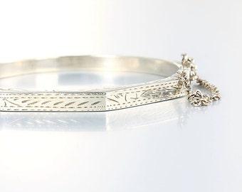 Vintage Sterling silver Bangle Bracelet, Chased Hinged Etched Stacking Bangle Octagon