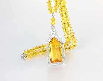 Amber crystal Art Deco Necklace, Lavalier Rhodium Filigree Necklace Vintage 1920s jewelry