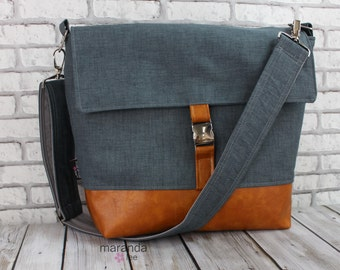 Lulu Large Flap Messenger Satchel  -Blue Denim and PU Leather Travel Business Nappy Bag Stroller Attachment