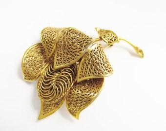Vintage Large Vendome Coro Flower Brooch open work gold tone