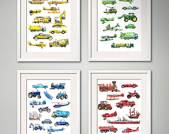 Things that Go! Set of Four Transportation Art Prints