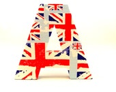 Union Jack Flag Print Personalized Gift Custom Wall Decor Bedroom Door Sign Initials Name Letters Quirky Home Decoration Red White and Blue