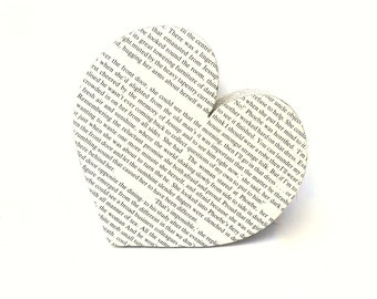 Gift for Bookwork Book Pages Love Heart Shape Home Decor Ornament Personalised Wedding Gift Anniversary Present for English Teacher Table