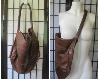Vintage 1960s 1970s Purse Extra Large Brown Leather Hobo Pouch Style Slouch Bag Saks Fifth Avenue Made in Uruguay Deep Bucket Style