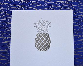 Gold Pineapple   |   Letterpress Notecard