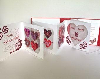 SWEET 16th Accordion Book-Card Anniversary Birthday ORIGINAL Handmade CUSToM ORDeR W/Red Pink Hearts & Butterflies on Transparencies OOaK