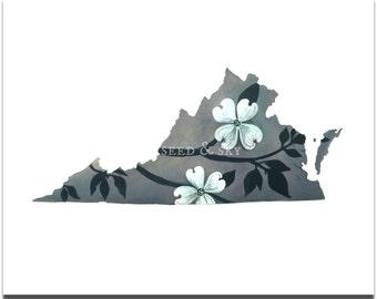 VIRGINIA PRINT / Virginia is for Flower Lovers Print / State Flower / Virginia Dogwood