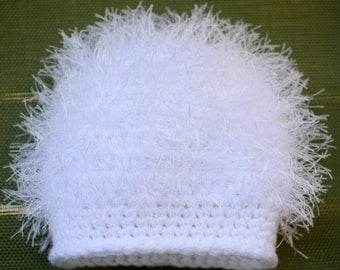 Baby Girl Hat, Newborn, Crochet, Fluffy White Winter Hat, Ready to Ship, Great Photo Prop or Gift