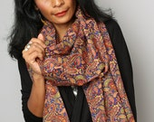 Scarf / Paisley Scarf / Cotton Satin Scarf : Nature Touch Collection