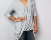 Cross front Tunic / Light Grey Long Sleeved Cardigan / Swallowtail tunic : Urban Chic Collection No 31