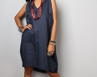 Dark Blue Dress - Short Blue Dress - Sleeveless Dress : Nature Touch Collection