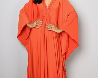 Orange Maxi Dress - Kaftan Kimono Butterfly Dress: Funky Elegant Collection No.1s