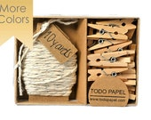 READY TO SHIP |  Platinum shimmer twine with mini clothespin set. Pretty gift boxed office supplies many colors
