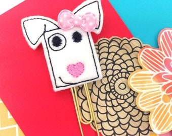 Woof! White Pup Felt Planner Paper Clip   Favors Small Party Gifts Bookmark - Felt Magnet Novelty Gifts   Pet Lover Cute Puppy Novelty Gifts