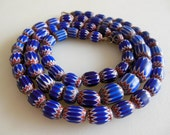 Chevron Beaded Necklace Blue Chevron Glass Beads 6 Layer from The Back Part of the Basement FREE US Shipping