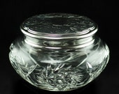 Antique Cut Crystal Dresser Powder Jar with Sterling Lid by Roden Brothers