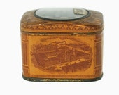 Antique 19th Century Parke, Davis & Co Medium Materia Medica Pharmaceutical Specimen Tin with Domed Lid and Convex Glass Lens - First Issue