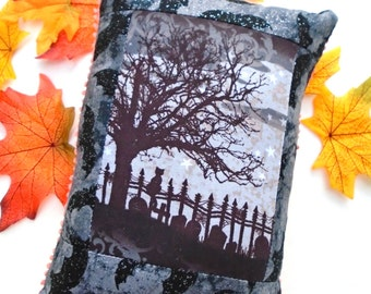 Cat On A Cemetary Fence Eerie Pillow / Halloween / Old Creepy Oak Tree / Wrought Iron Fence / Graveyard / Eerie Pillow / Cat Silhouette