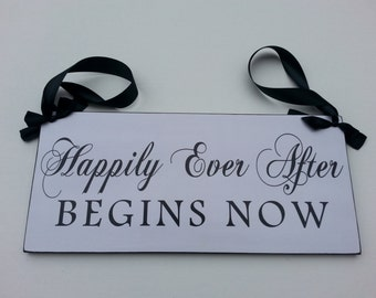 Happily Ever After Begins Now,  Wedding and photo props, Single Sided 12in, ring bearer sign