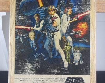 Star Wars - A New Hope Movie Poster wooden wall plaque.