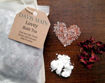Lovey Bath Tea with Roses, Pink Salt, and Coconut Milk Powder