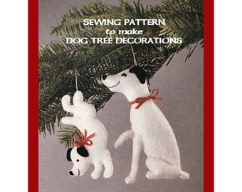 Instant Download PDF Full Size Printable Sewing Pattern to make Dancing Dogs Puppies Christmas Tree Decorations or Bean Bag Toy in 2 Sizes