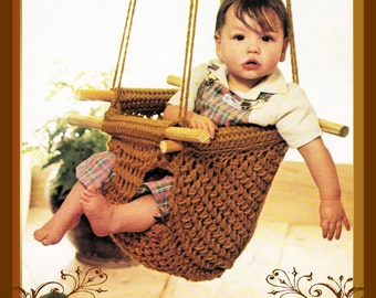 Instant Download Pdf Seventies Crochet Pattern to make a Baby Swing Hanging Tree Seat Baby Bouncer Chair Soother Photo Prop