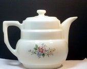 Teapot Hall China Drip-O-Lator Vintage Coffee Tea Pot Rounded Terrace Rambling Rose 1920s