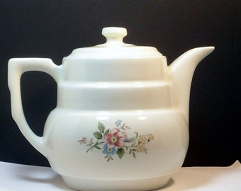 Sale Teapot Hall China Drip-O-Lator Vintage Coffee Tea Pot Rounded Terrace Rambling Rose 1920s