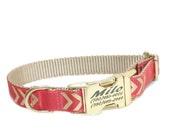 Personalized Chevron Dog Collar, Coral Dog Collar, Gold Collar