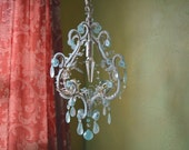 """RESERVED for Patsy, LayawayAqua Blue Chandelier, Woodland Blossom, 16""""h. x 11"""" w."""
