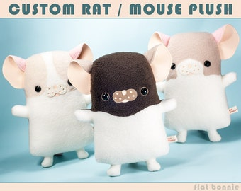 Custom Rat stuffed animal, Customized mouse plush, Stuffy toy rattie keepsake, Personalized mouse toy doll, Plushie pet clone, Flat Bonnie