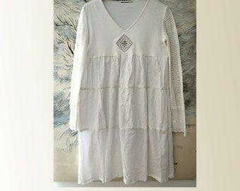 White cotton dress, loose dress sleeves, artsy white dress, women's romantic dress, boho white dress, upcycled clothing, recycled dress