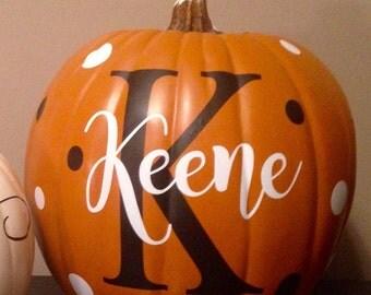 Halloween pumpkin vinyl decal, intial, monogram, polka dot, fall decor, halloween sticker