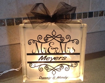 DIY Monogrammed Glass Block Wedding, Bridal, Engagement gift personalized decal