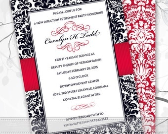 retirement party invitations, wedding invitations with rsvp, bridal shower thank you cards, black damask and crimson invitations, IN402