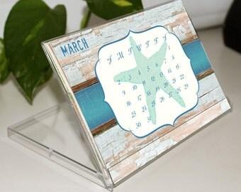 HALF PRICE 2017 monthly desk calendar, desk calendar, 4x6 desk calendar, desk calendar with easel, co-worker gift, girlfriend gift