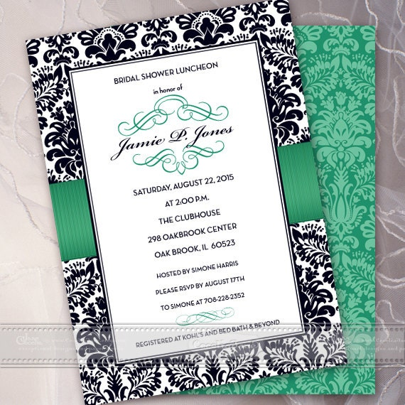 bridal shower invitations, wedding invitations printed, wedding invitation romantic, bridal shower invites, black and emerald party, IN402