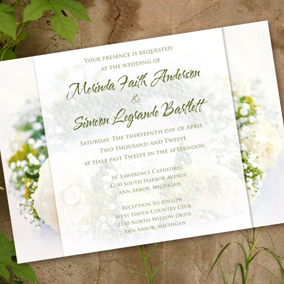 wedding invitations, white roses bridal shower invitations, emerald wedding invitations, white and evergreen rehearsal dinner, IN146