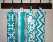 Plastic Bag Holder Grocery Bag Storage Kitchen Bag Storage Turquoise Geometric Stripe Damask Chevron Storage Bag Holder